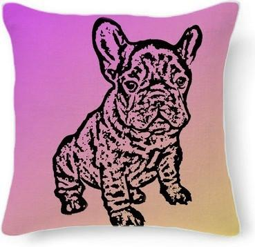 French Bulldog pillow pink