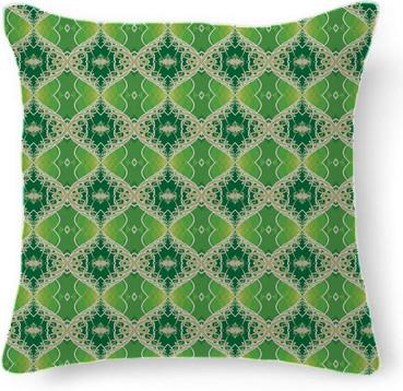 Green Vine Fractal Design Pattern Throw Pillow