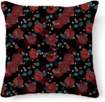 Sprouted Spirals Red and Blue Pillow