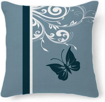 Stylish butterfly and swirls in blues and white
