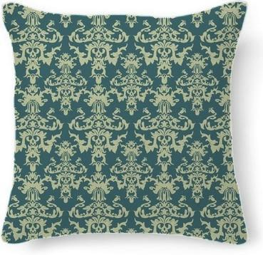 Vintage Teal and Khaki Damask