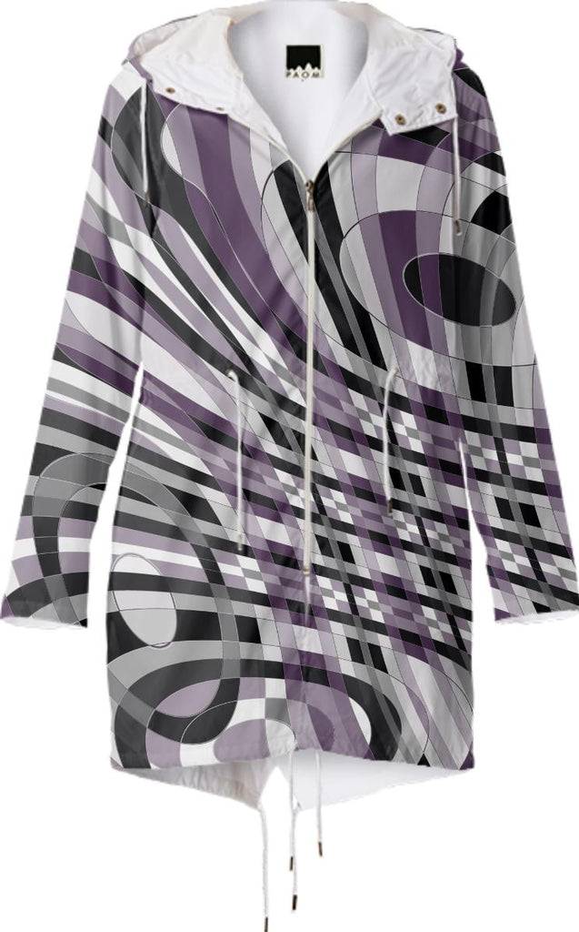 Abstract 360 Plum and Gray Raincoat