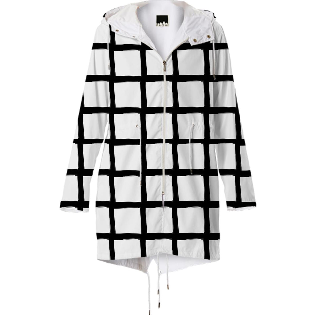 Black and White Grid Raincoat