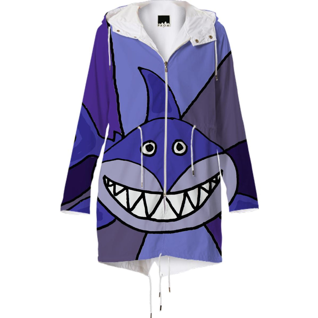 Funny Grinning Shark Abstract Raincoat