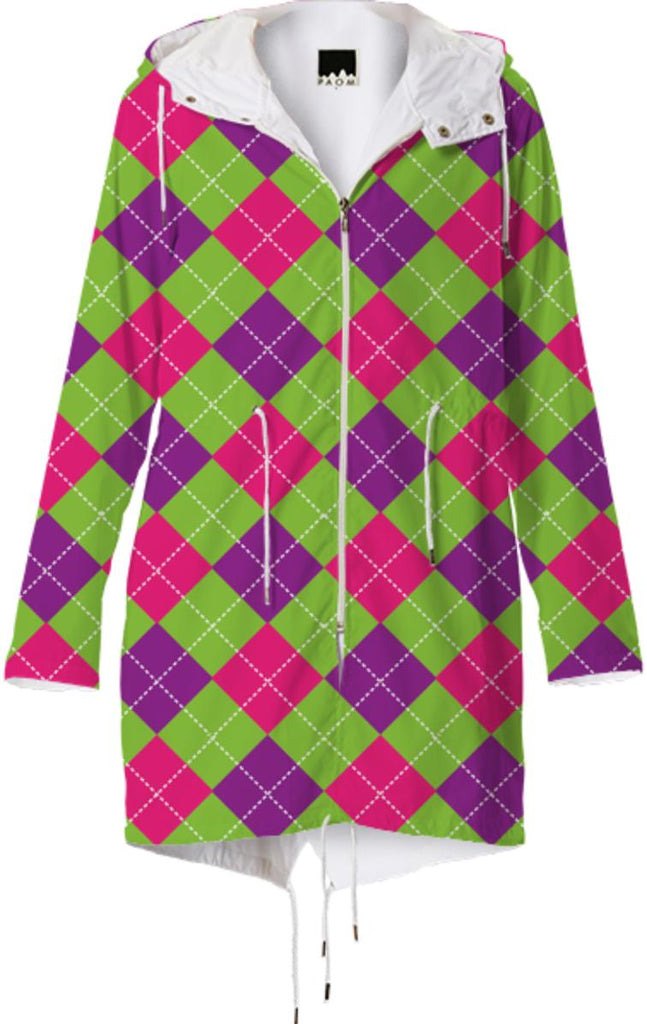 PINK PURPLE GREEN ARGYLE PATTERN RAINCOAT