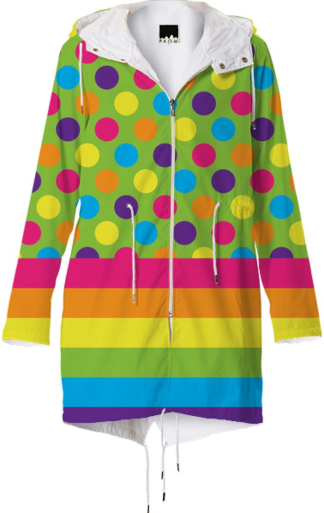 RAINBOW POLKA DOTS STRIPED RAINCOAT