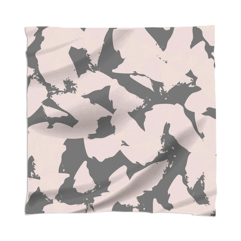 Pastel Pink Bird Wings on Gray Scarf