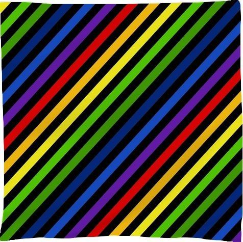Diagonal Rainbow Stripes on Black