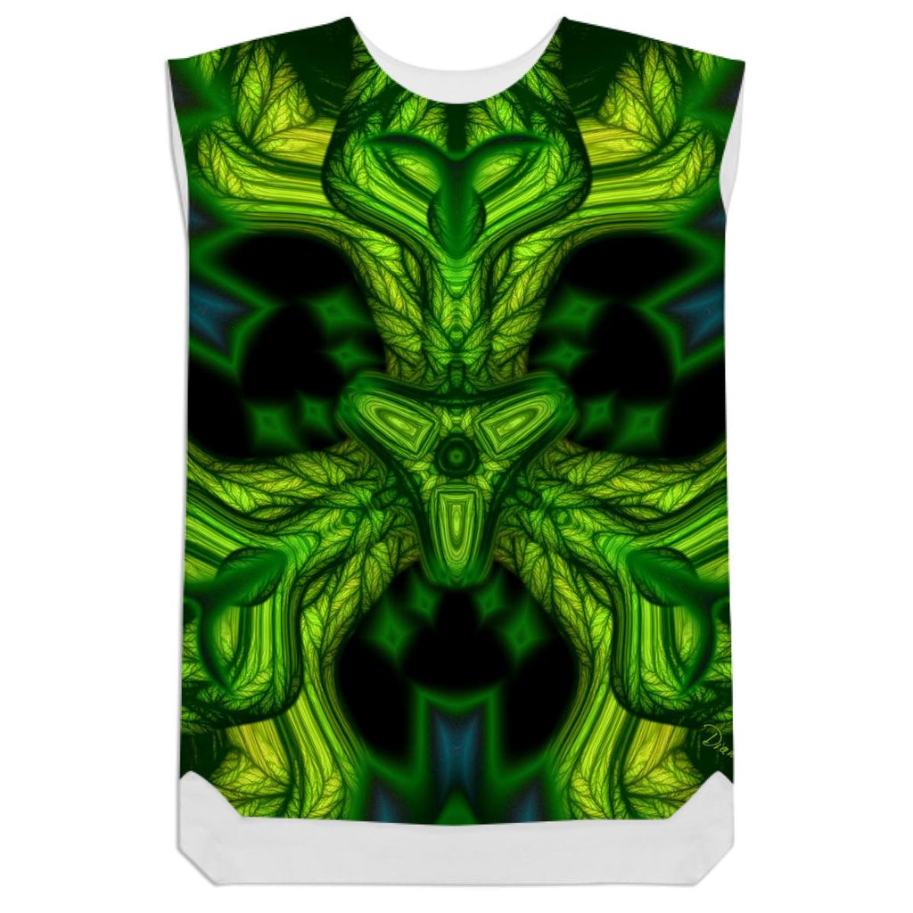 Green Man Goblin Abstract Emerald and Gold Mask