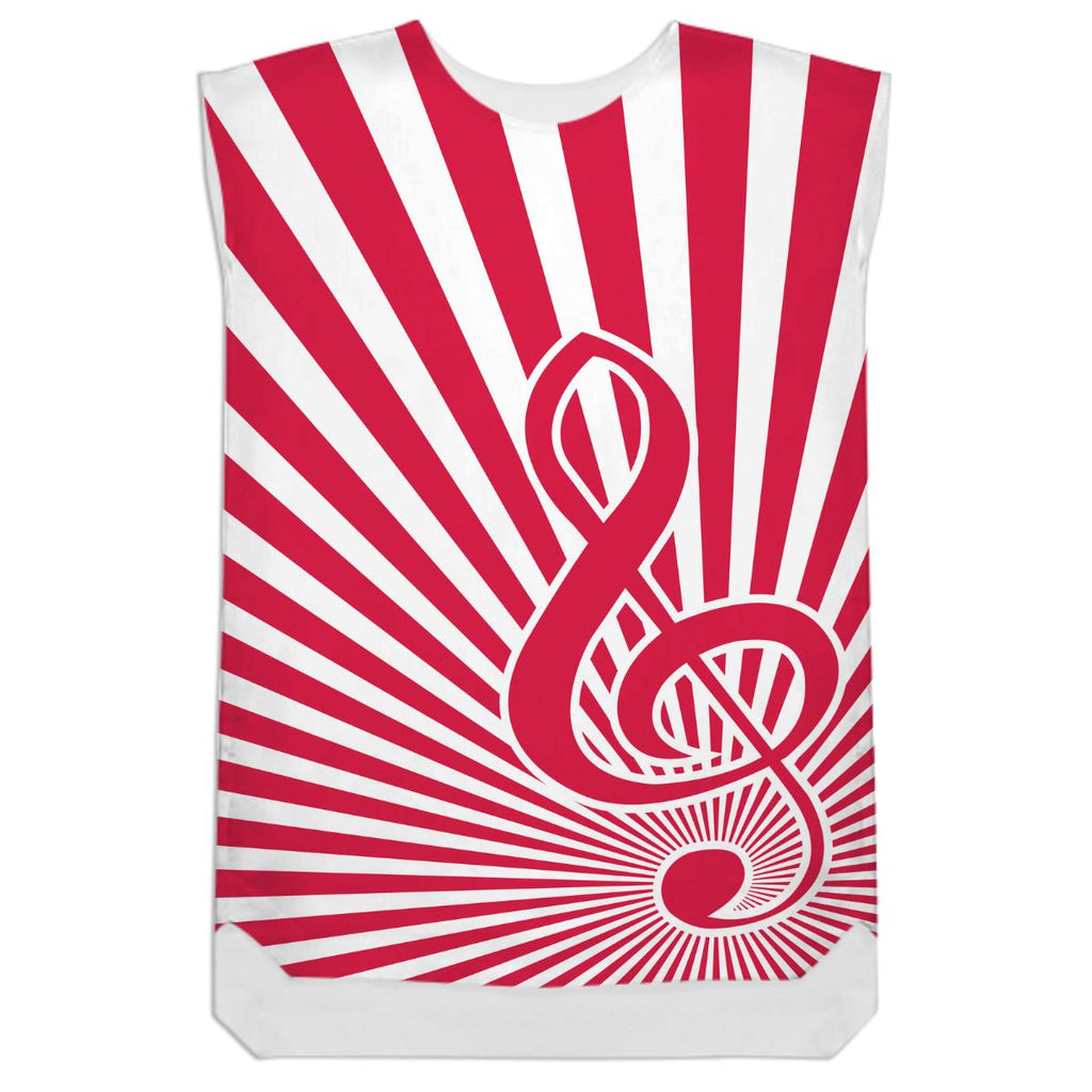 Red and white sunburst with musical note treble clef