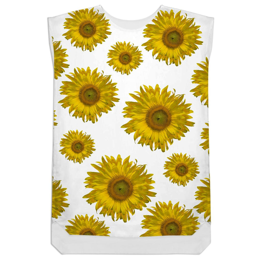 Yellow Scattered Sunflowers Shift Dress