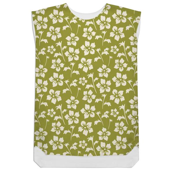 Cute Vintage Inspired Green and Cream Floral