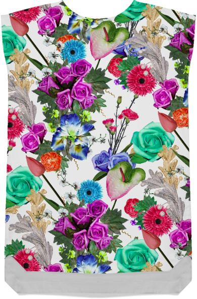 Floral Print with Fake Flowers