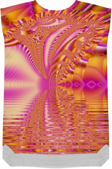 Golden Pink Fiesta Abstract Fractal Ocean Ripples