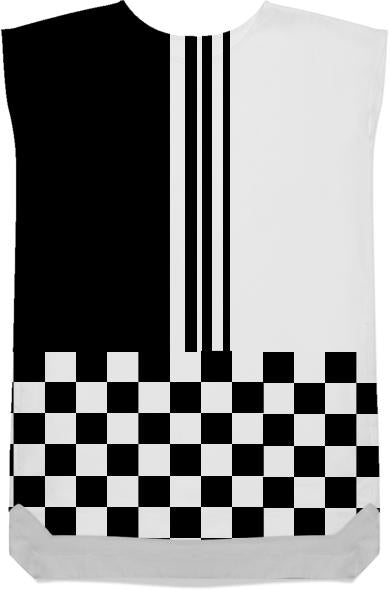 Mod stylish black and white stripes and check