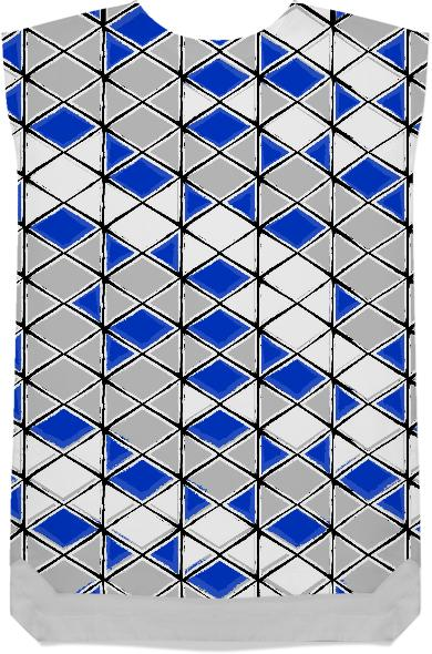 painted geometric pattern in blue grey and white