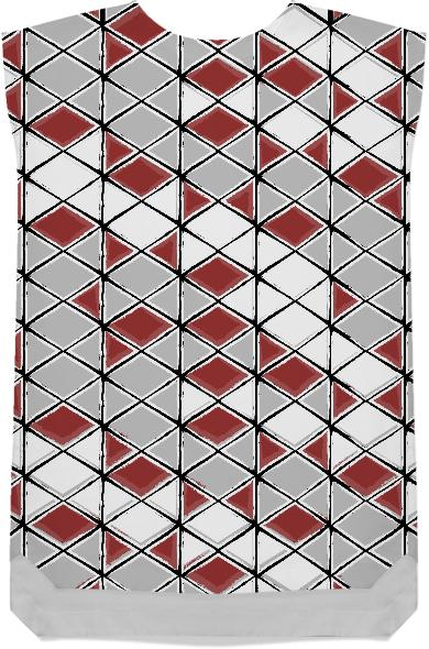 painted geometric pattern in red grey and white