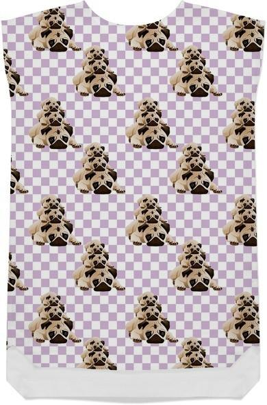 Pugs on Lavender Checks