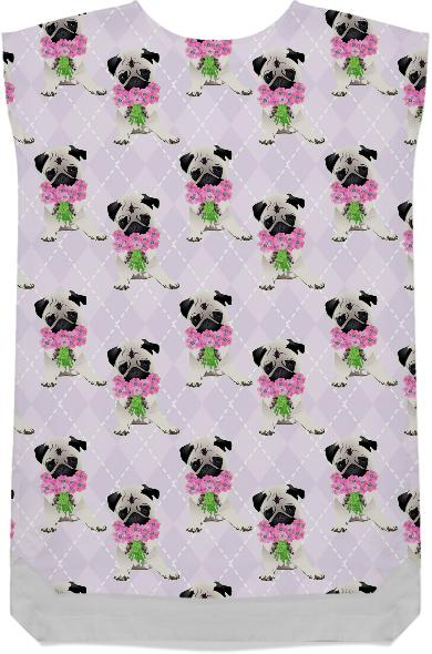 Pugs with Pink Flowers