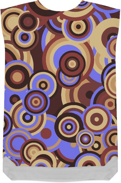 Retro Mod Circles Brown and Blue