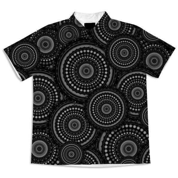 Black and White Mandala Pattern Short Sleeved Blouse