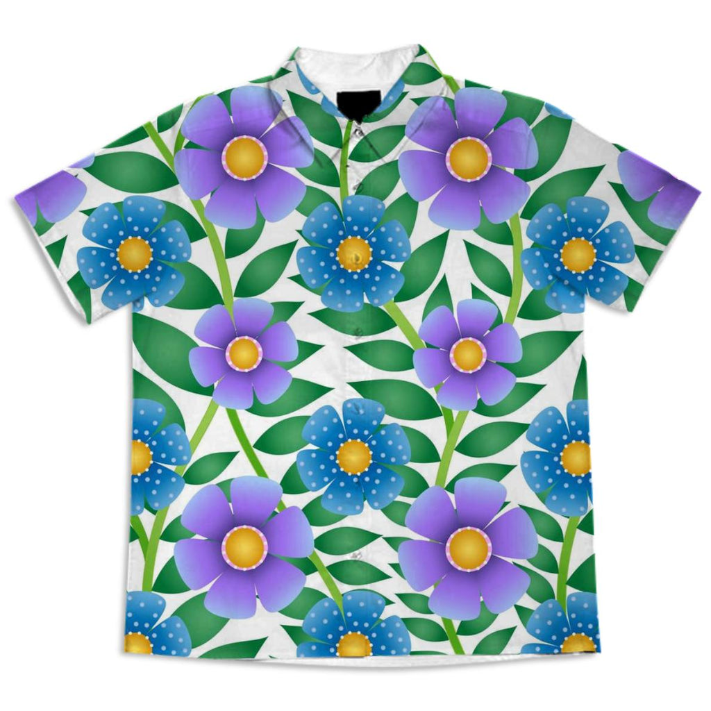 Purple and Blue Summer Floral Shirt