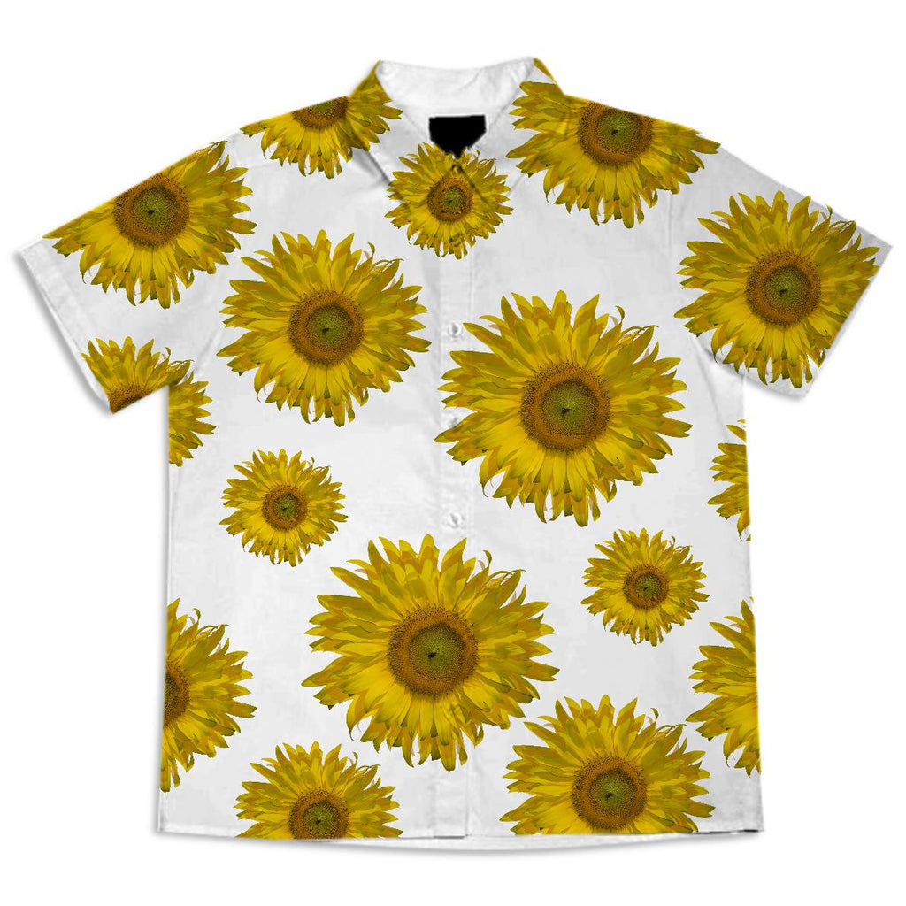 Yellow Scattered Sunflowers Short Sleeve Blouse