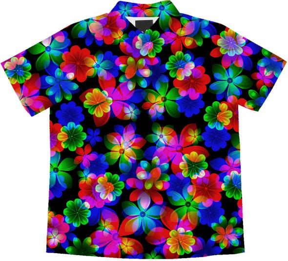 3D BOUQUET OF FLOWERS SHORT SLEEVE BLOUSE