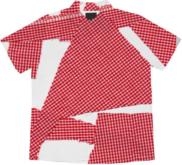 PAOM, Print All Over Me, digital print, design, fashion, style, collaboration, cheryl-donegan, cheryl donegan, Short Sleeve Workshirt, Short-Sleeve-Workshirt, ShortSleeveWorkshirt, broken, gingham, spring summer, unisex, Cotton, Tops