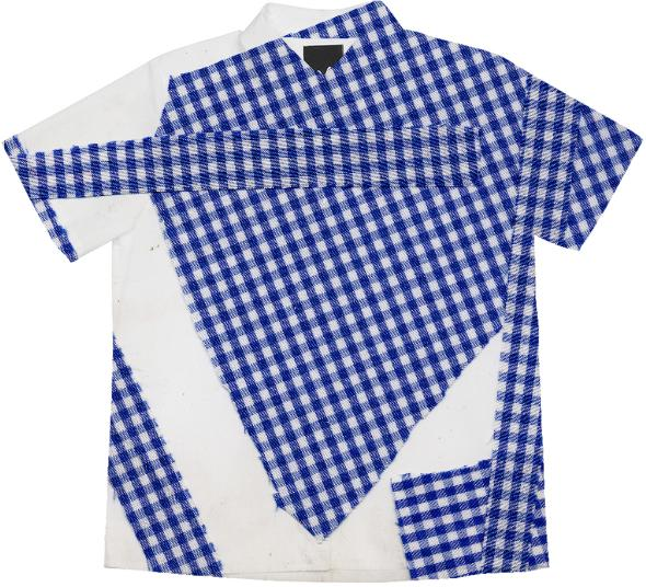 Broken Gingham Camp Shirt in Blue