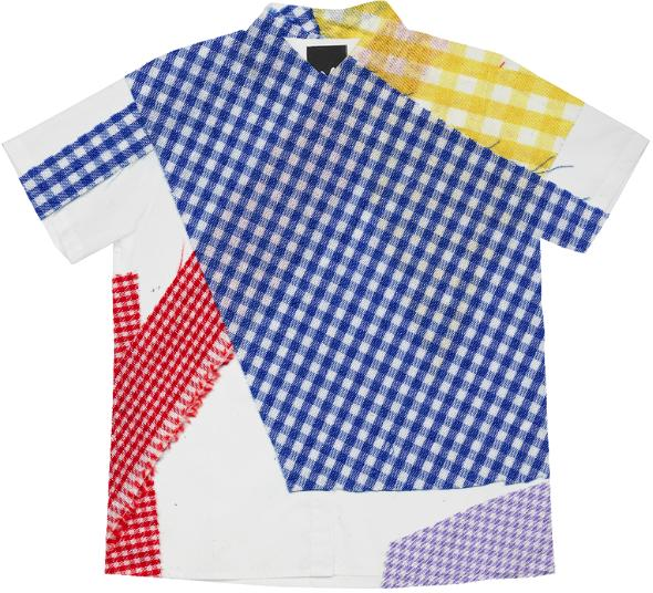 PAOM, Print All Over Me, digital print, design, fashion, style, collaboration, cheryl-donegan, cheryl donegan, Short Sleeve Workshirt, Short-Sleeve-Workshirt, ShortSleeveWorkshirt, Broken, Gingham, shirt, Multi, spring summer, unisex, Cotton, Tops