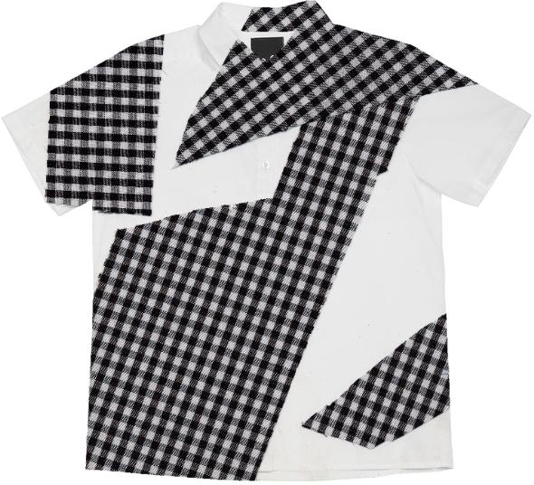 PAOM, Print All Over Me, digital print, design, fashion, style, collaboration, cheryl-donegan, cheryl donegan, Short Sleeve Workshirt, Short-Sleeve-Workshirt, ShortSleeveWorkshirt, Broken, Gingham, Tee, Balck, spring summer, unisex, Cotton, Tops