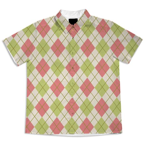 Classic Pink Green and Cream Argyle Shirt