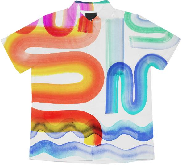 PAOM, Print All Over Me, digital print, design, fashion, style, collaboration, saskia-pomeroy, saskia pomeroy, Short Sleeve Blouse, Short-Sleeve-Blouse, ShortSleeveBlouse, MORE, PAINT, spring summer, unisex, Cotton, Tops