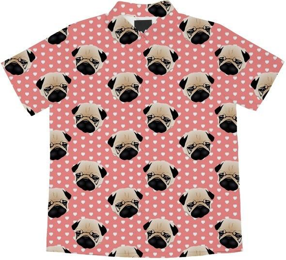 Pugs on Hearts Pink
