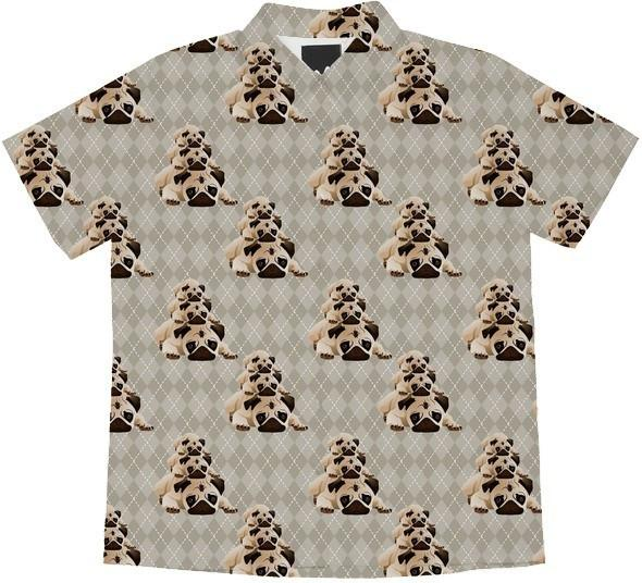 Pugs on Tan Argyle
