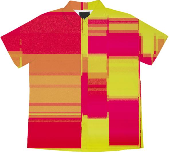 yellow pink glitch clash blouse
