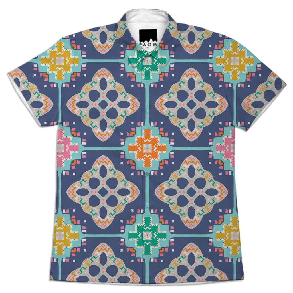 COLOURFUL TILE PATTERN SHORT SLEEVE WORKSHIRT