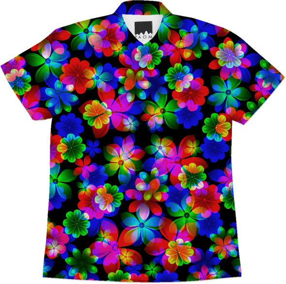 3D BOUQUET OF FLOWERS COTTON SHORT SLEEVE SHIRT