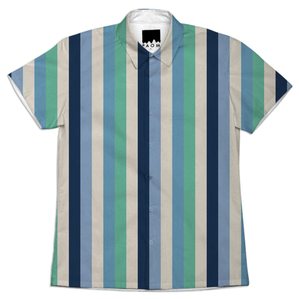 Blue and Green Striped Work Shirt