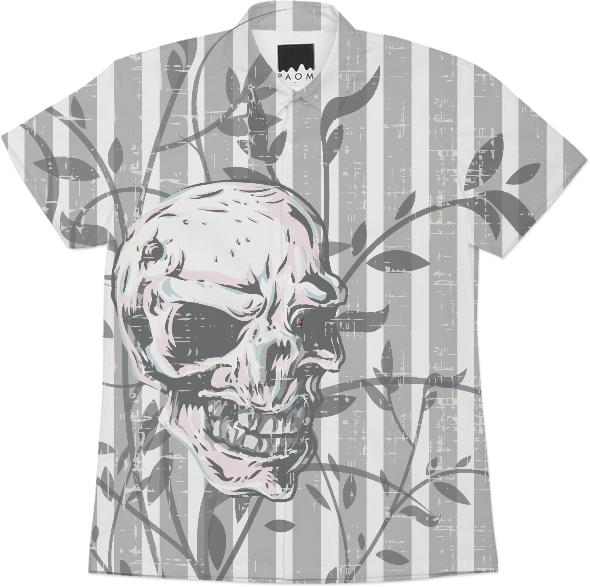 Distressed skull on floral and stripes