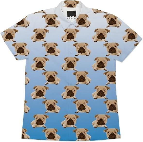 Funny Pugs on Blue Gradient