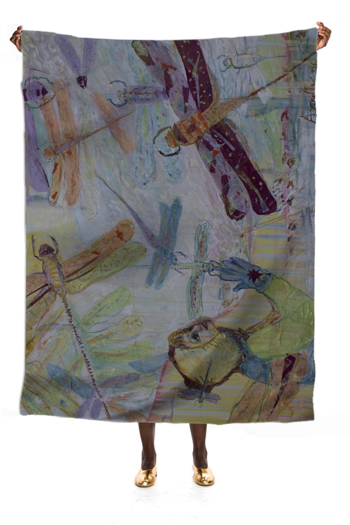 Dragonflies in Winter Silk Scarf