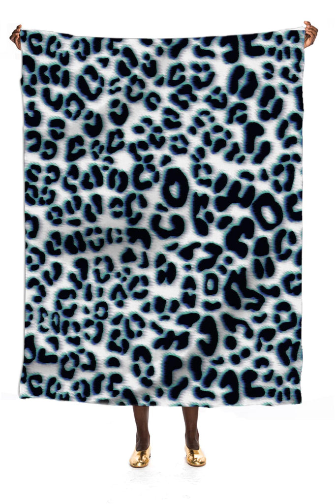 leopard pattern with neon blue highlights