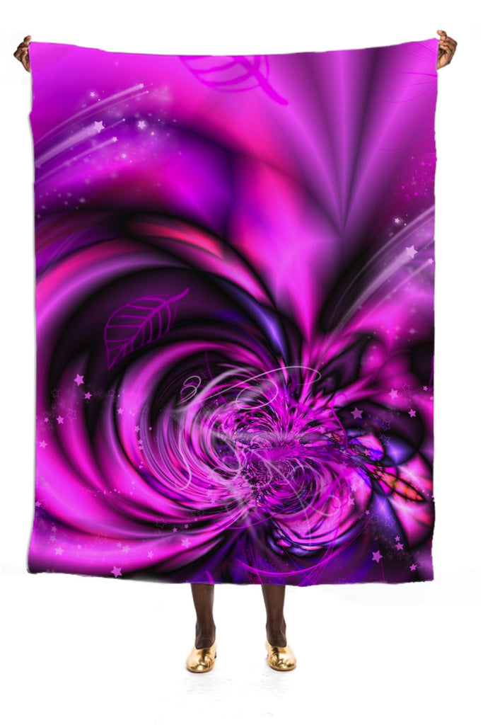Pink Fractal with Digital Glitter and Stars VP Silk Scarf