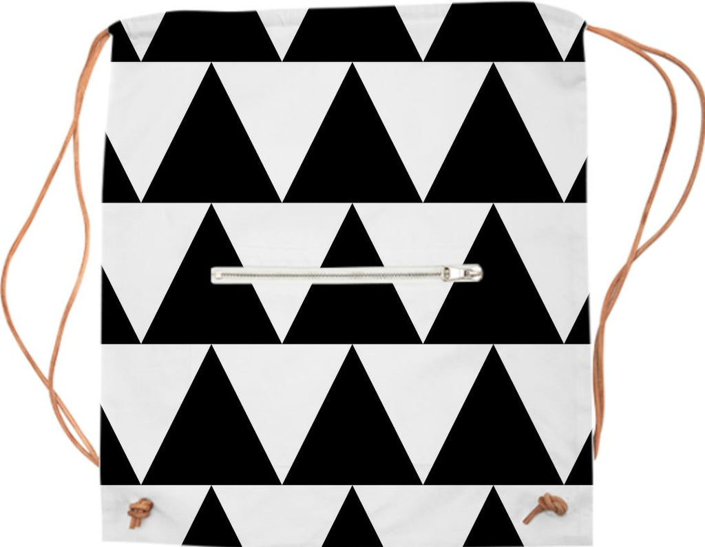 Black and White Triangle Drawstring Bag