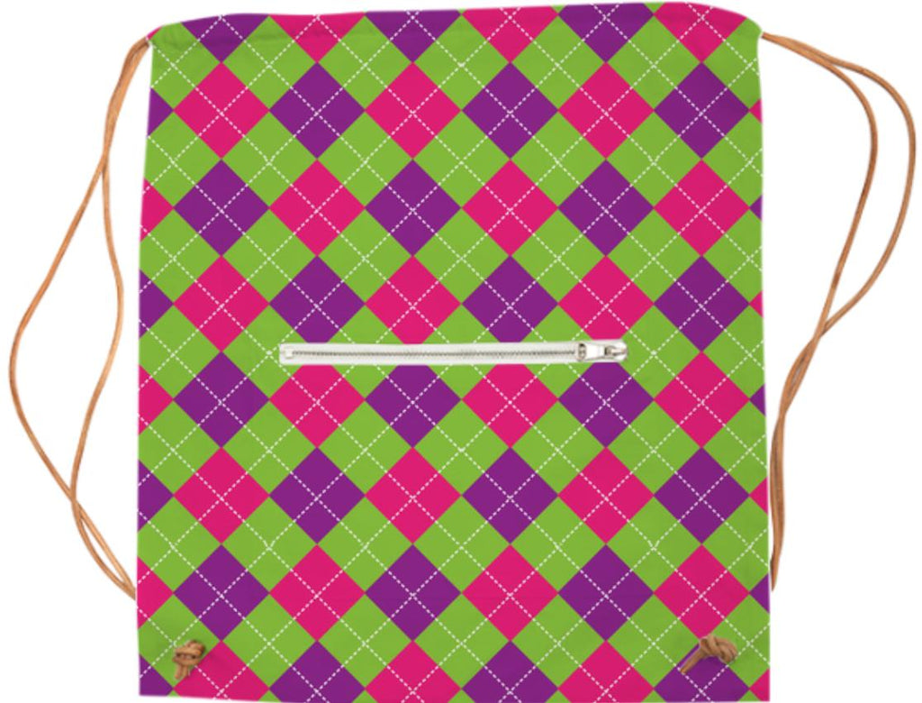 PINK PURPLE GREEN ARGYLE PATTERN SPORTS BAG