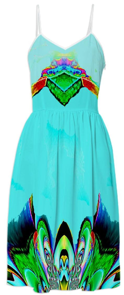 Aqua Abstract Summer Dress