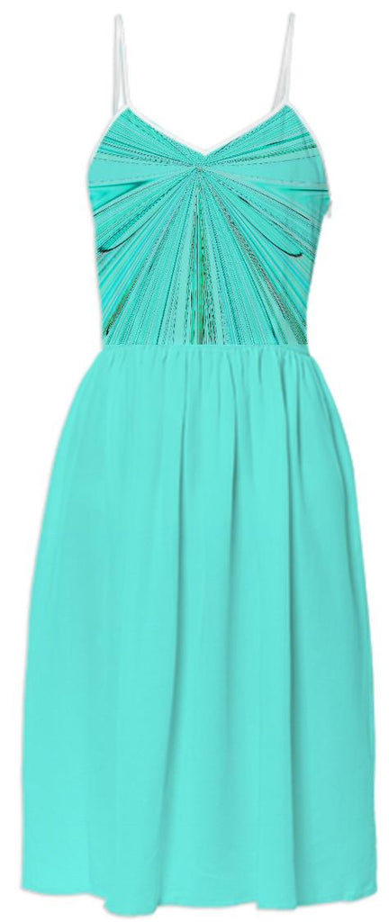 Aqua Faux Shirred Summer Dress