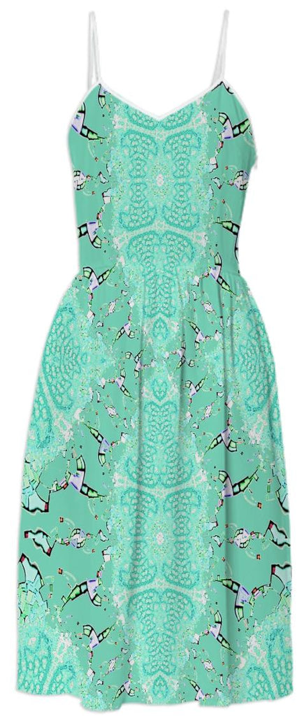 Aqua Green Abstract Summer Dress